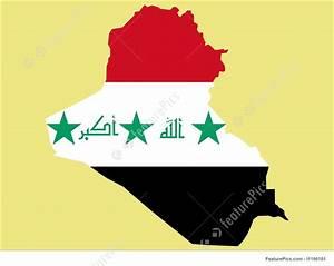Illustration Of Map Of Iraq And Iraqi Flag