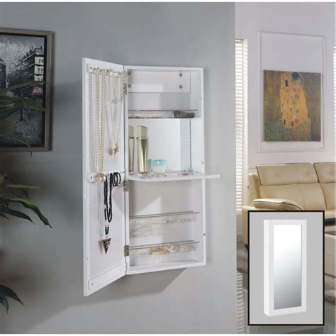 cabidor jewelry storage cabinet danya b white the door jewelry and makeup cabinet
