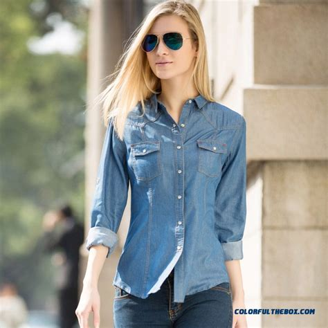 light blue blouse for women cheap european and american women long sleeved denim shirt