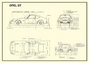 Technical Drawing 1 Opel Gt 1900