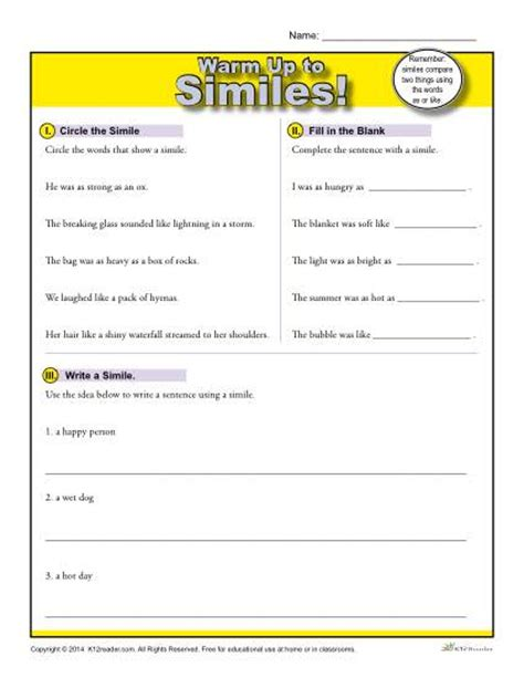 common figurative language 5th grade worksheets