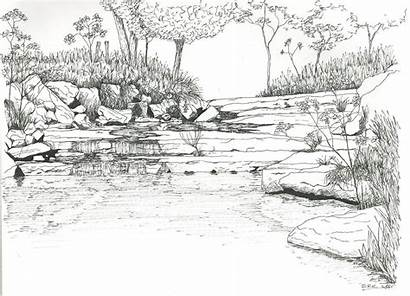 Coloring Landscape Pages Adults River Detailed Colouring