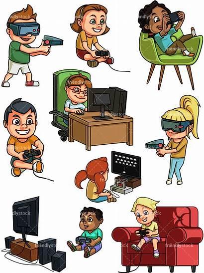Playing Games Clipart Gaming Vector Cartoon Play