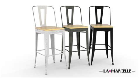 chaises cuisine blanches lot 4 tabourets au design industriel la marcelle avec