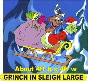 grinch  sleigh stealing presents large christmas yard