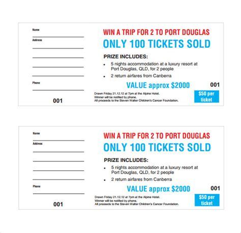 raffle ticket templates  printable word