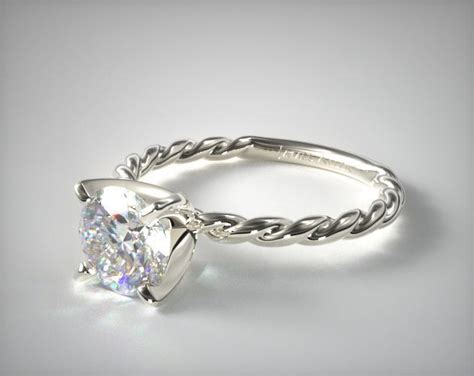 cable solitaire engagement ring  white gold james