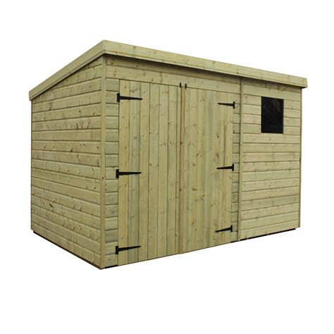 10 x 6 pressure treated tongue and groove pent shed with 1
