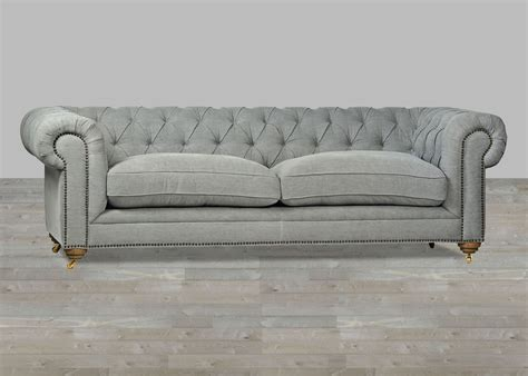 tufted settee upholstered sofa grey chesterfield style button tufted