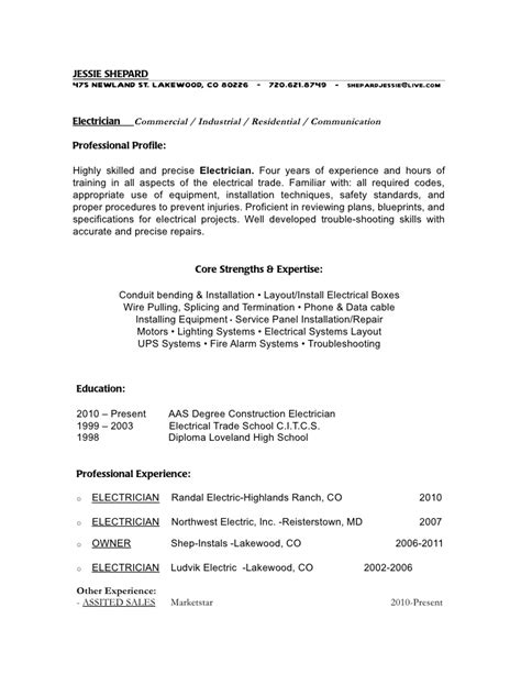 shepard electrical resume with pic