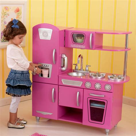 bubblegum pink kidkraft vintage play kitchen playset retro