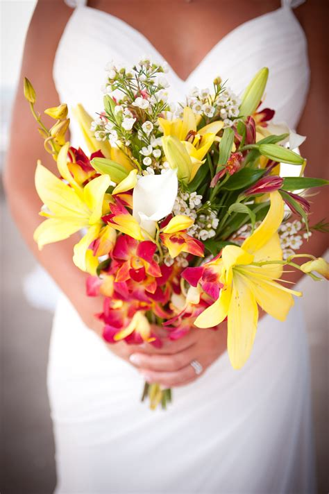 yellow  red stargazer lily bridal bouquet