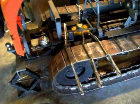 mini dozer home built track cleats added  rear brake test youtube