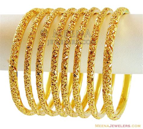 22k gold filigree bangles set 4 pc bast14205 22k indian gold bangles set of 4 designed