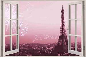 Huge 3D Window Eiffel Tower Paris View Wall Sticker Mural ...
