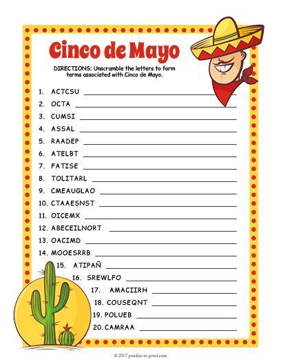 Free Printable Cinco de Mayo Word Scramble | Cinco de mayo ...