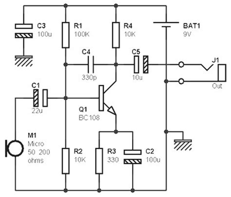 Mono Preamp Mic Based Transistor Amplifier Circuit