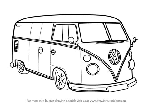 volkswagen old van drawing learn how to draw volkswagen van other step by step