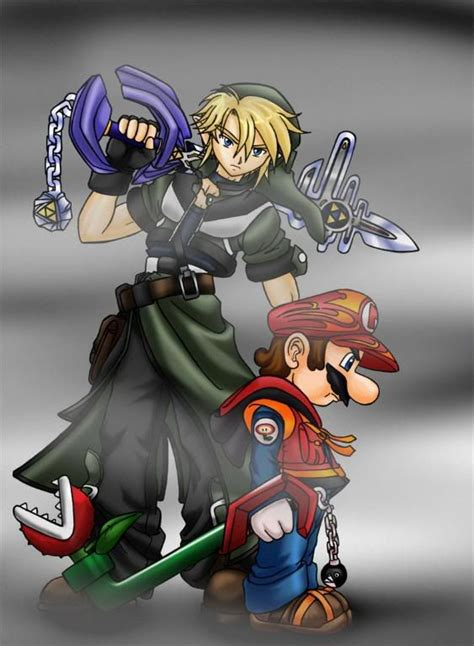 Mario And Link Keyblade Wielders Zelda Mario And