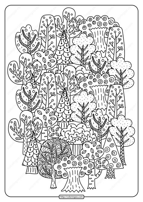printable fall trees  coloring page