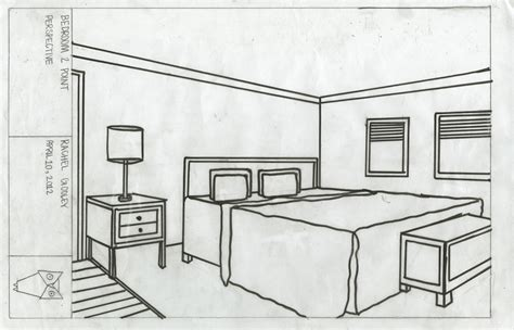 Drawing A Bedroom In Perspective by Bedroom Basic Interior Design Pencil And In Color