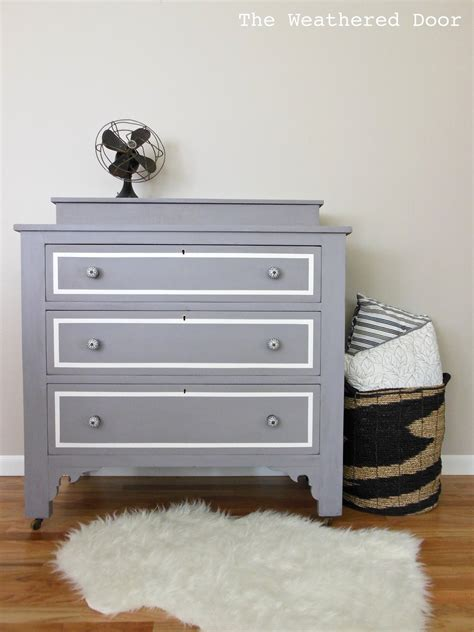 A Plumgrey Dresser With Modern Lines  The Weathered Door. Wallpaper Accent Wall. Outdoor Gates. Travertine Bathrooms. Iron Desk. Mirror Collage. Beach Themed Wallpaper Border. Ghost Chairs. Universal Upholstery