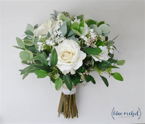 Wedding Flowers Wedding Bouquet Eucalyptus Bouquet Silk Etsy