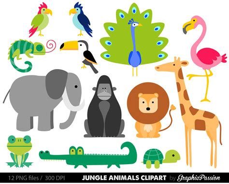 Jungle Animals Baby Digital Clipart / Safari Animals Clip