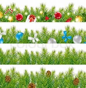 4 Border With Christmas Tree Set  Isolated On White