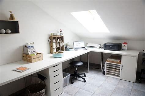 bureau imac white home office corner table setup with ikea linnmon