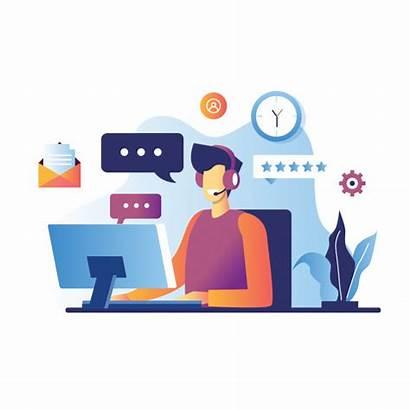 Customer Vector Illustration Service Support Technical Operator