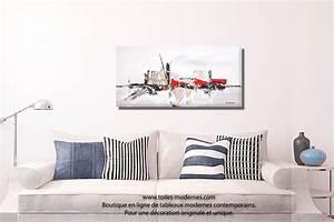 Tableau Salon Moderne : tableau taupe gris moderne reliefs grand format rectangle pour d coration design ~ Farleysfitness.com Idées de Décoration