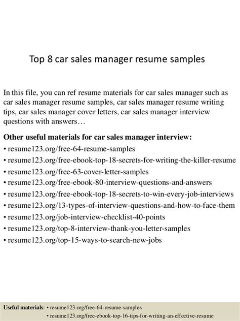 Great Sales Manager Resume by Top 8 Car Sales Manager Resume Sles