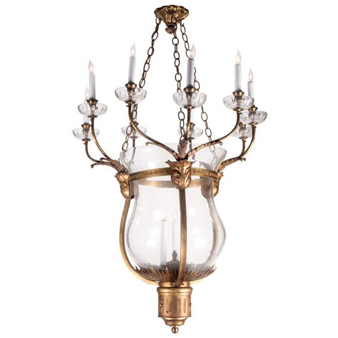 oversized bronze and glass bell jar chandelier from the