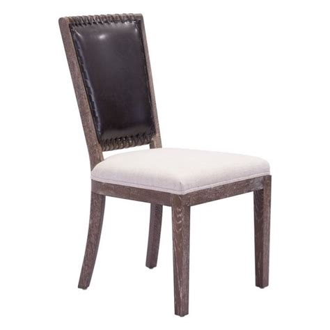 zuo market faux leather dining chair in brown set of 2