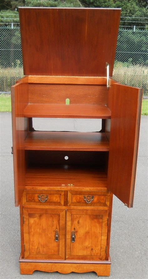 antique style yew narrow cupboard cabinet lp storage