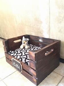 wooden dog bed wine crate dog bed for small dogs free With dog crate under bed