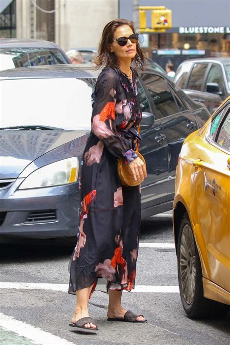 katie holmes seen wearing a floral print dress while out ...