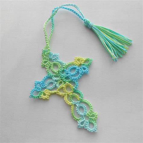 tatted cross bookmark tatted lace bookmark tatted bookmark