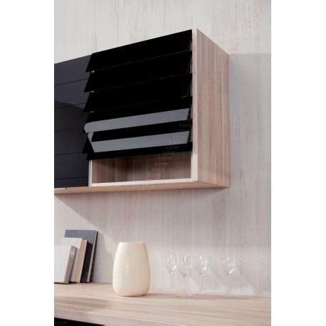 meuble haut de cuisine avec rideau  lamelles accessoires
