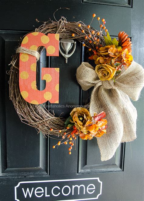 craftaholics anonymous monogram fall wreath