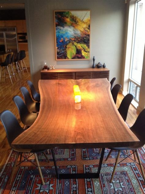 hand crafted  edge walnut dining table  north texas
