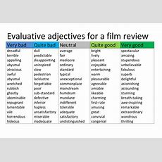 Evaluative Adjectives For A Review By Hmbenglishresources1984  Teaching Resources Tes