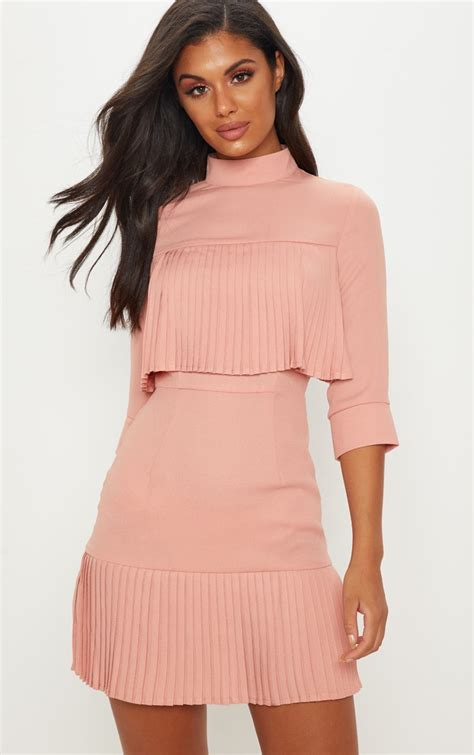 dusty pink pleated frill bodycon dress prettylittlething aus