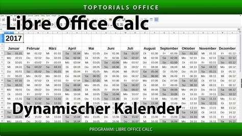 dynamischer kalender libreoffice calc toptorials