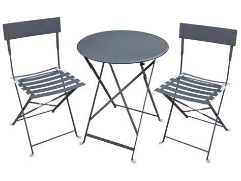 table et chaises jardin table 2 chaises de jardin en métal canebiere blanc
