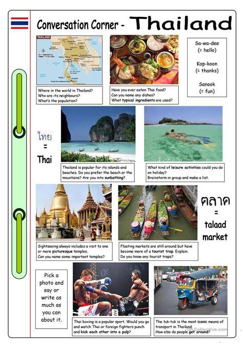 conversation corner thailand worksheet  esl