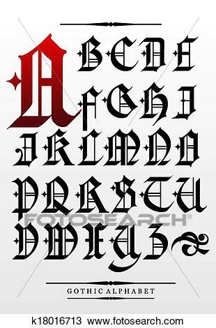 lettere alfabeto gotico vettore gotico font alfabeto tipo clipart k18016713