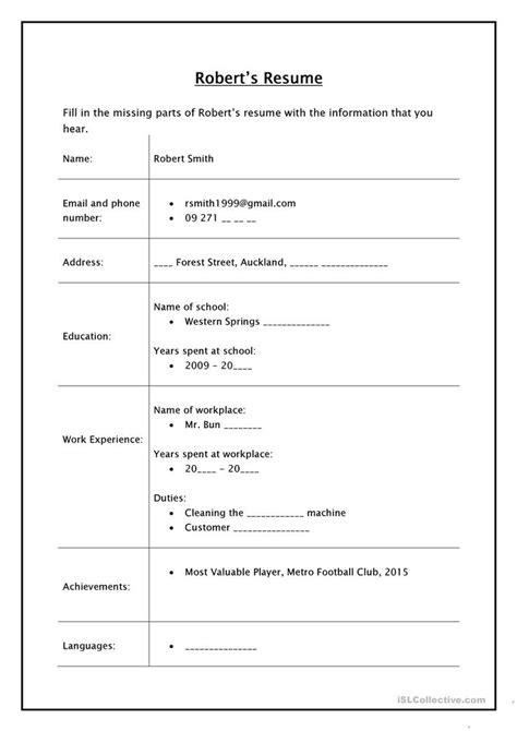 Printable Resume Worksheet by Robert S Resume Listening Activity Worksheet Free Esl