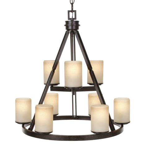 hton bay alta loma 9 light ridge bronze chandelier
